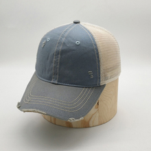 Custom 100% Cotton Vintage Distressed Mesh Back Unstructured Plain Baseball <strong>Cap</strong>