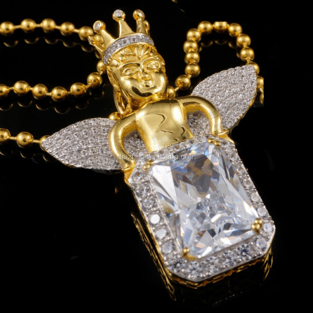 Simulated Diamond clear cubic zirconia baby angel wing hiphop bling gold men necklace