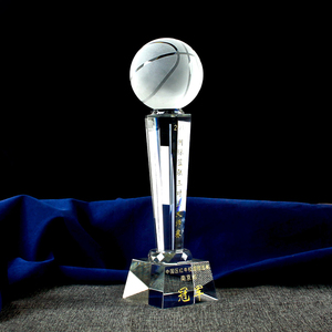 cheap fashion design NBA MVP basketball crystal trophy awards with high quality