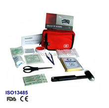 2014 Saferlife Custom Red Car Auto Driver First Aid Kit Bag with Contents