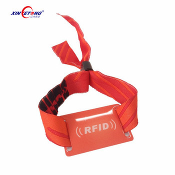 New Design Colorful Waving one side Logo printable Customize Woven Fabric  RFID Woven Wristband