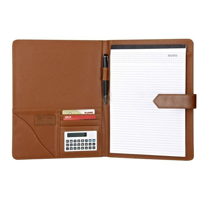 Customized A4 Leather Document File Cover Folder With Calculator Office File Cover Designs