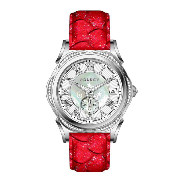High end women watches diamond lady leather watch with Lotus on dial
