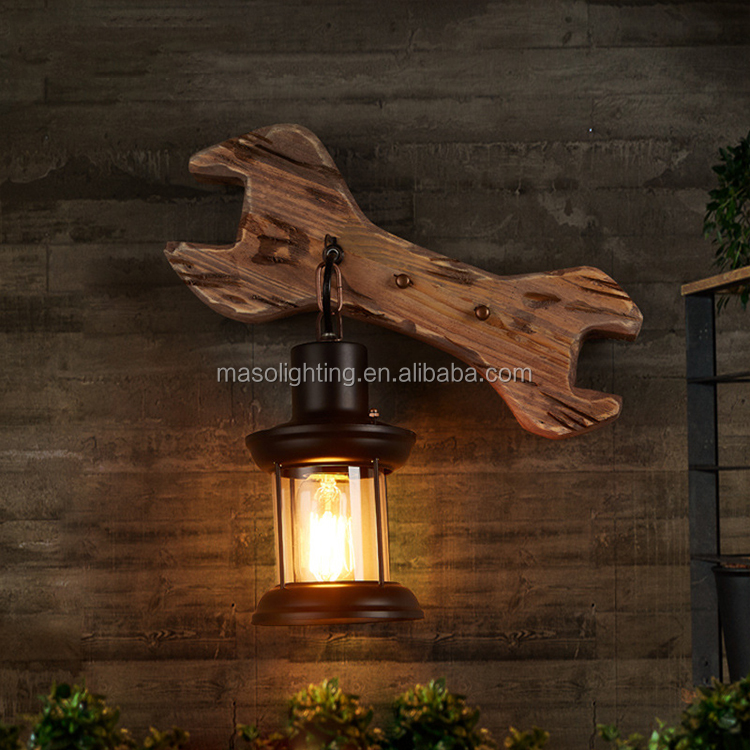 Modern Handmade wood lamp rustic lighting fixtures vintage wall lamp hanging stand wrench shape