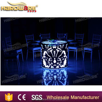 commercial bar led round wedding table,metal steel base led bar dining table
