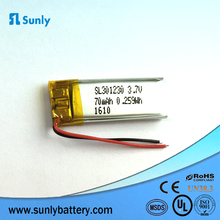 lithium polymer battery suppliers 401230 3.7V 100mAh small rechargeable lipo battery