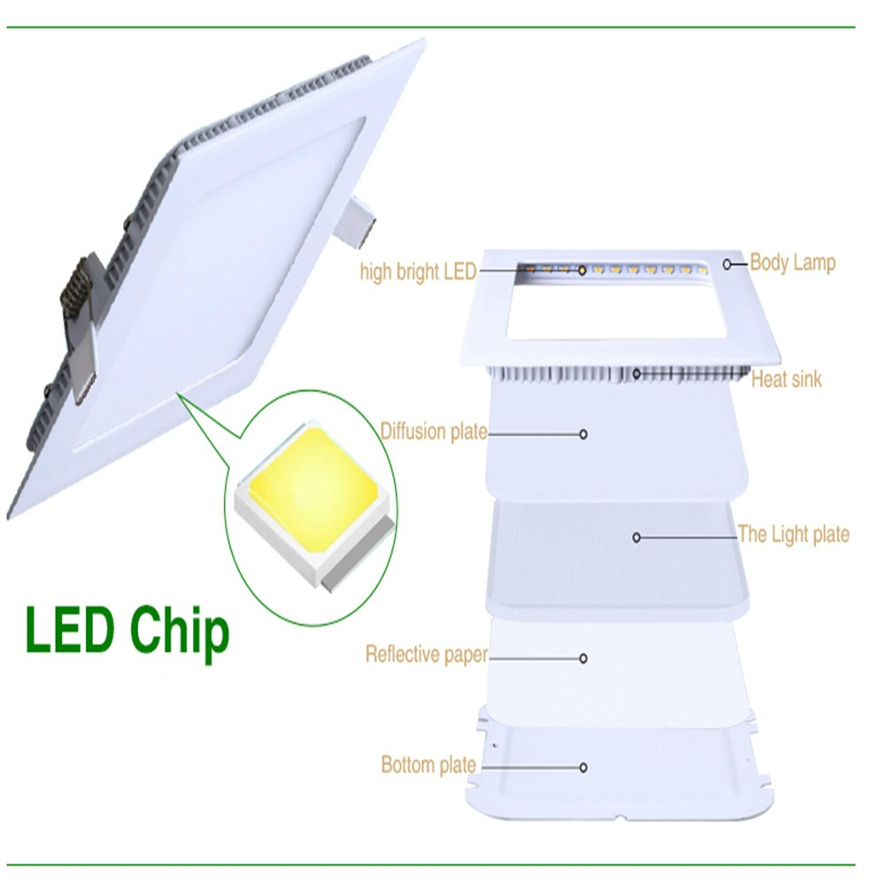 6w square recessed led panel light china manufacturer