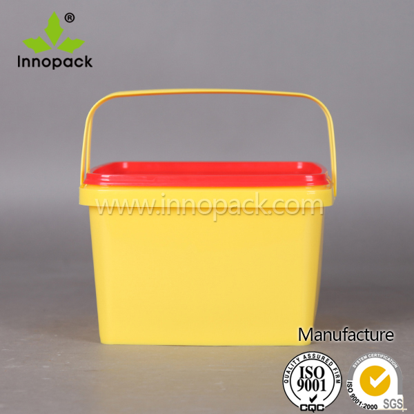 3L snacks bucket square bucket with plastic lid and handles plastic food container