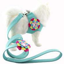 Wholesales High-end Saddle Type Crystal Flower Soft Suede Firm Pet Chest Harness Leash for Dog Lead