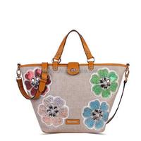 Embroidered flower jute lady handbag, plain jute color handed office lady bag
