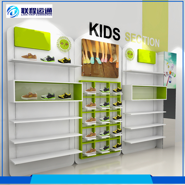 Different colors wall wood module shoes display shelf