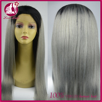 1b/gery 18 Inch Long Brazilian Virgin Human Hair Silky Straight Lace Front Wigs With Baby Hair For Black Women