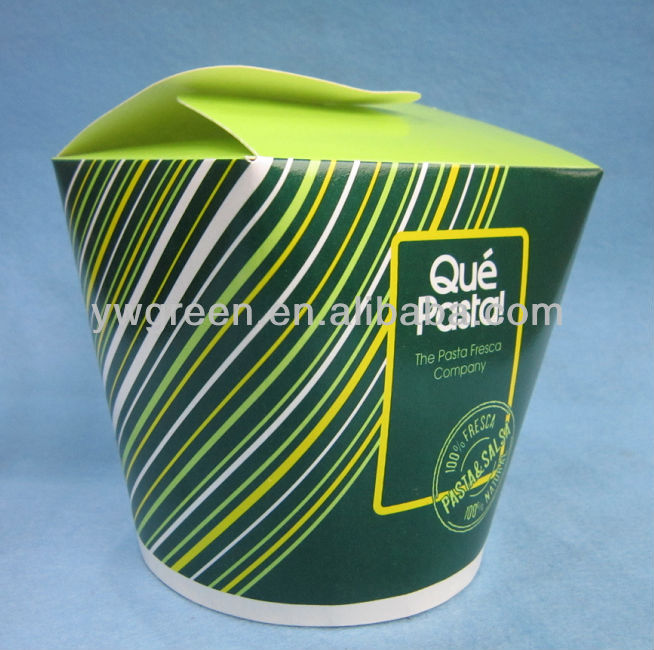 disposable take away paper pasta bowl with hinge