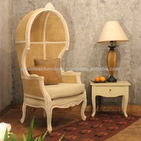 Antique Canopy Chair With Woven Cane, Callie Living Room Chairs
