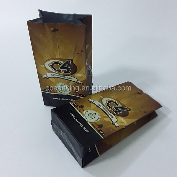 heat seal gravure printing quad seal bottom food grade coffee cafe bean package bag