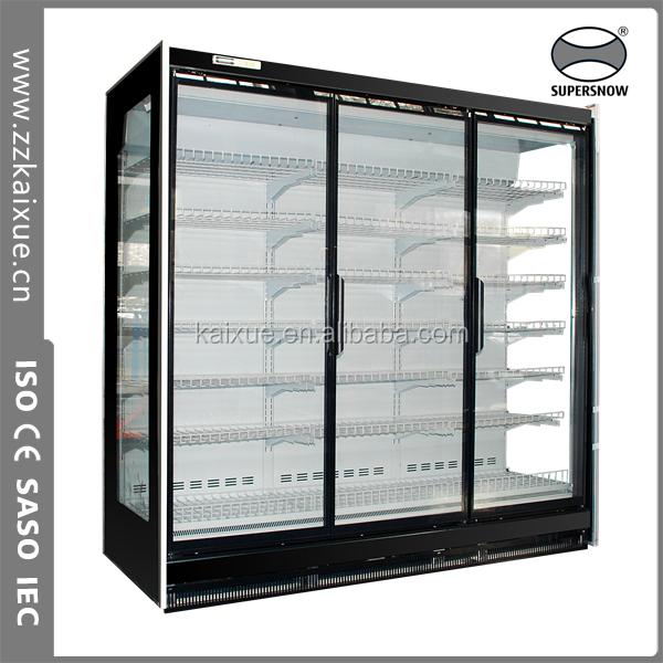 Supermarket glass door display cooler showcase with remote for 1 door display chiller
