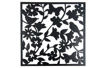 Black Square Hollow Pattern Room Divider Screen