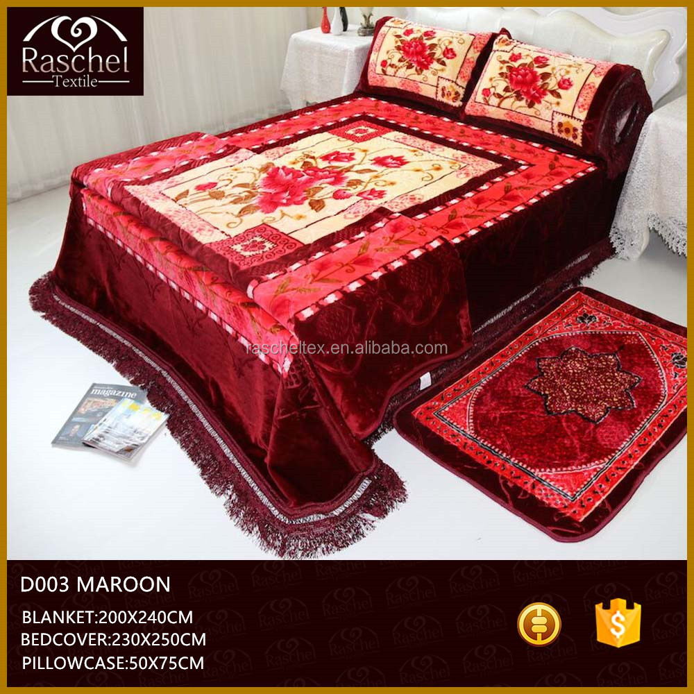 Hot Selling 100 % Polyester Korean Style Five Pcs Embossed Blanket Bedcover Set