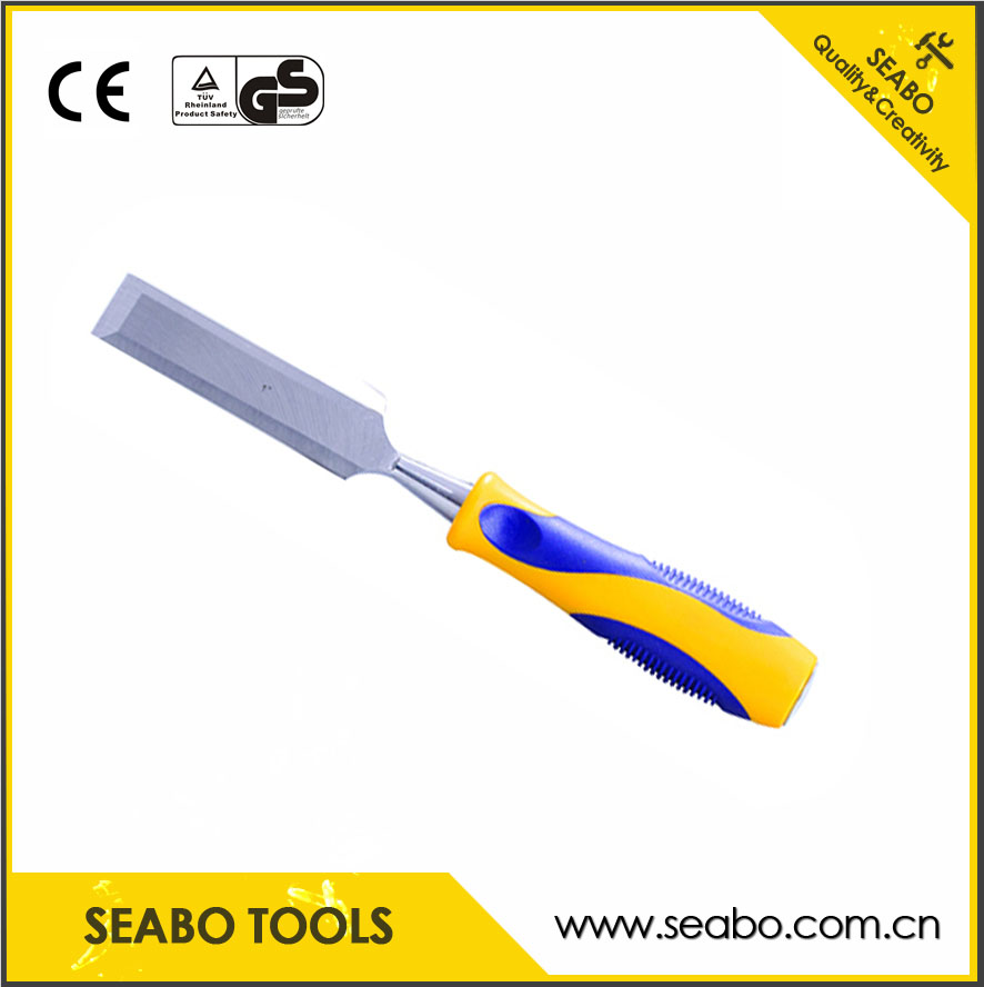 double color of wooden chisel with plastic handle