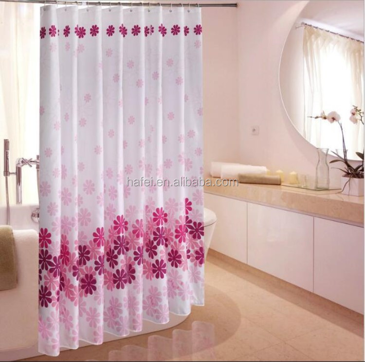 Cheap hotel printing fabric eyelet hookless shower curtain