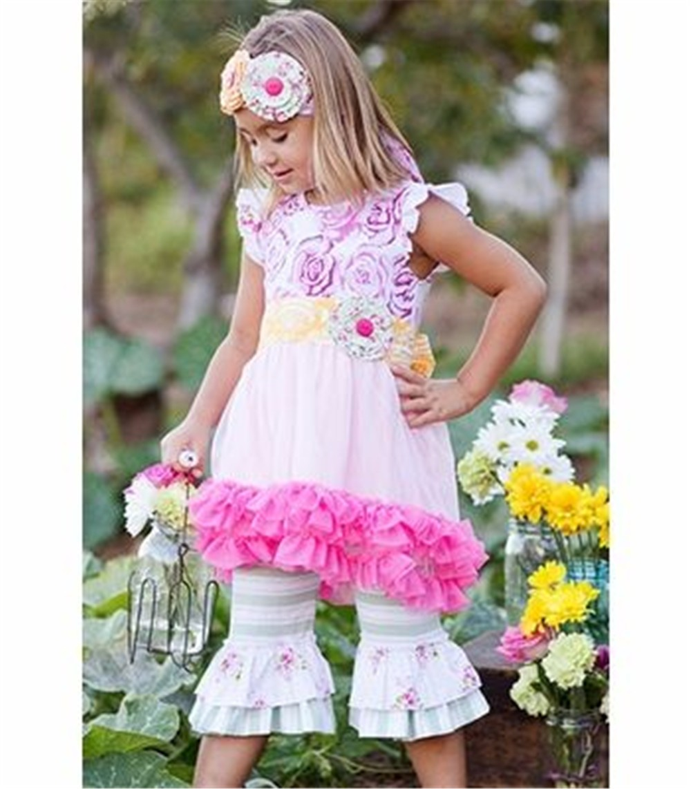 stylish chevron polka dot printing ruffle wholesale children's boutique clothing