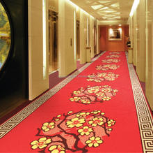 Red Golden floral corridor wall to wall carpet hotel carpet