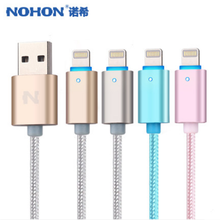 Wholesale USB cable 4 Colors Newest Visible LED Light USB Cable for iPhone 5 5s 5c iPod Pad