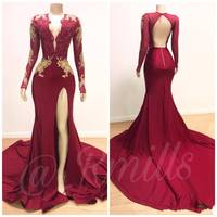 ZH3958G Gold Appliques Dark Red Mermaid Prom Dresses 2019 New Sexy Deep V Neck Open Back Split Evening Gowns Long Sleeves Robes