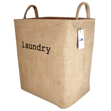 Heavy duty Linen Collapsible Laundry Hamper Bag with Two Handles