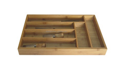 KD Organizers 6 Slots Bamboo Drawer Organizer Tray with Dividers