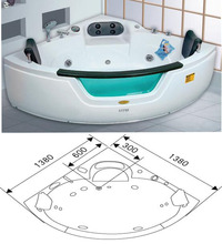 Small Corner Hot Bathtub With Whirlpool Massage Function For 2 People Ozone Heater For Option