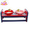 brand new wooden pet bowl with stand, lovely stainless pets bowl wood, hot sale wooden feed bowl with stand W06F015