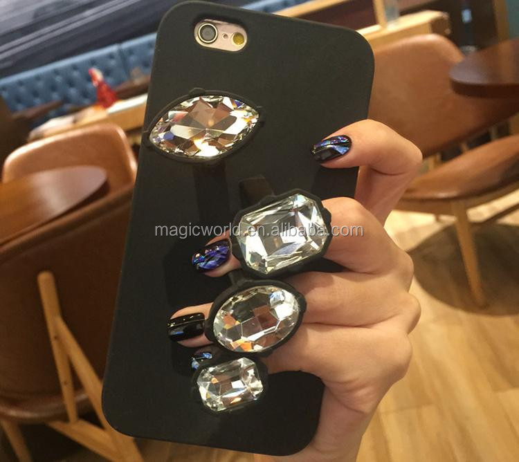 Luxury Diamond Ring Rubber Silicone Cell Phone Case For Apple iPhones
