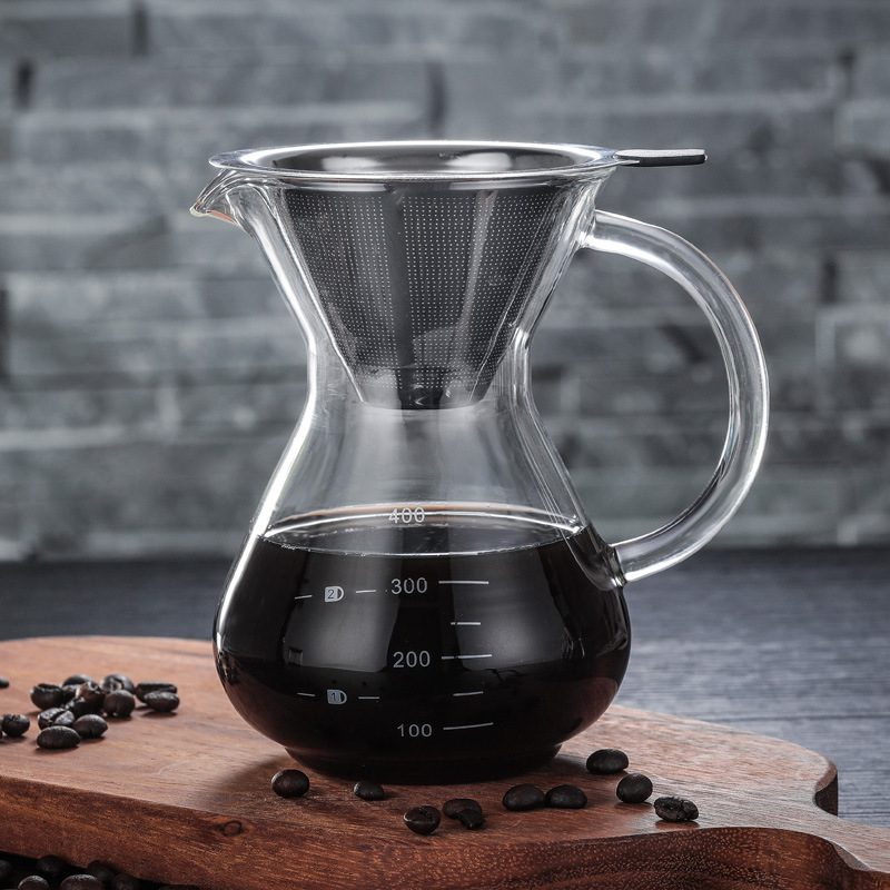 Pour Over Coffee Maker Borosilicate Glass Carafe With Reusable Paperless Stainless Steel Mesh Filter