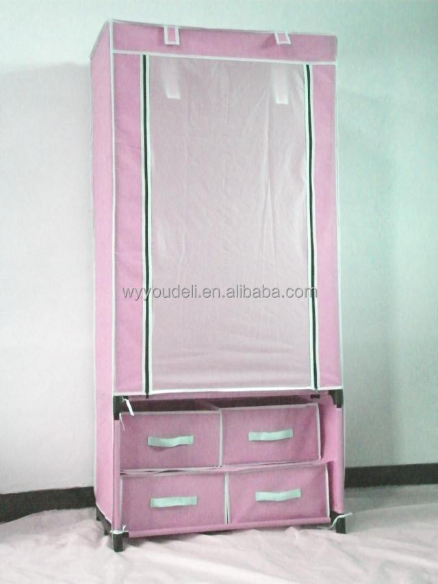 2015 new trend hot sale cloth cabinet,folding 600D movable wardrobe