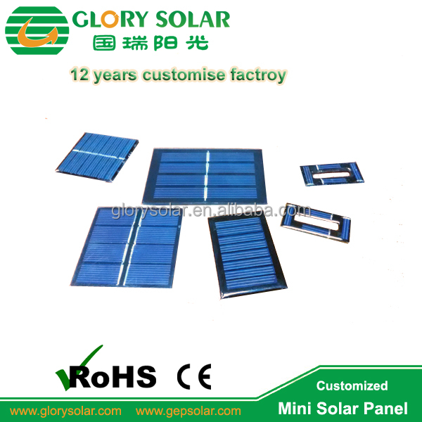 Long Life ETFE PET Glass Epoxy Laminated Poly or Mono 2V 5V 6V 9V 12V 0.1W 0.25W 0.5W 0.8W 1W Small Solar Panels