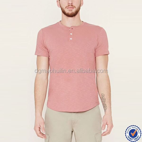 wholesale mens custom blank cotton henley shirt