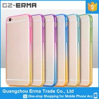 Gradient Colorful Clear Slim TPU Soft Bumper with PC Back Cover for iPhone 6