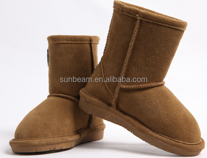 Hot sale sheepskin leather fur boy kids snow boots