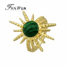 Gold Color Plated Imitation Turquoise Sun Flower Shape Rings