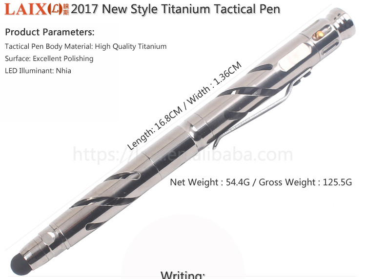 LAIX T17 New Titanium Tactical Pen Metal Self Defense Weapon Multifunction Tool with Led Flashlight Tungsten Steel Glass Breaker