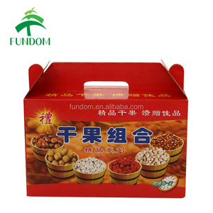 customized printing red corrugated dry food storage shipping packing box carton packaging with die cut handle