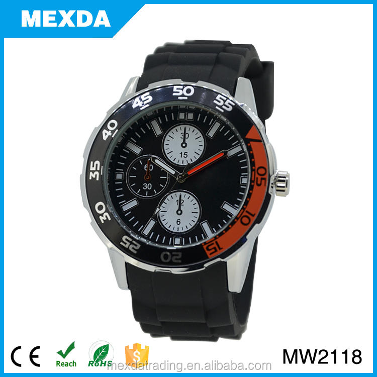lastest silicone watch band quartz waterproof watch for men