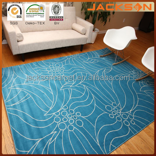 Electric Light Blue And White Floral Area Rug
