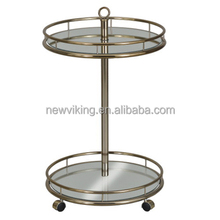 Tea Trolley Durable Kitchen hotel mobile glass metal 2 tier round Serving Trolley