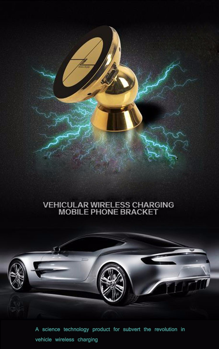 Portable Quick Charge QI Standard Strong Magnet Auto Adsorption Wireless Charger Metal In-Car Holder