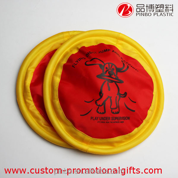 round shape fabric frisbee with Yellow edge,outdoor professional dog training cloth frisbee