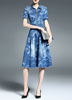 dip dyed shirt dress floral party long dresses flower lady dress