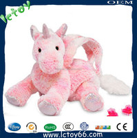 Customized plush UNIMON toy with pink crazy horse bag