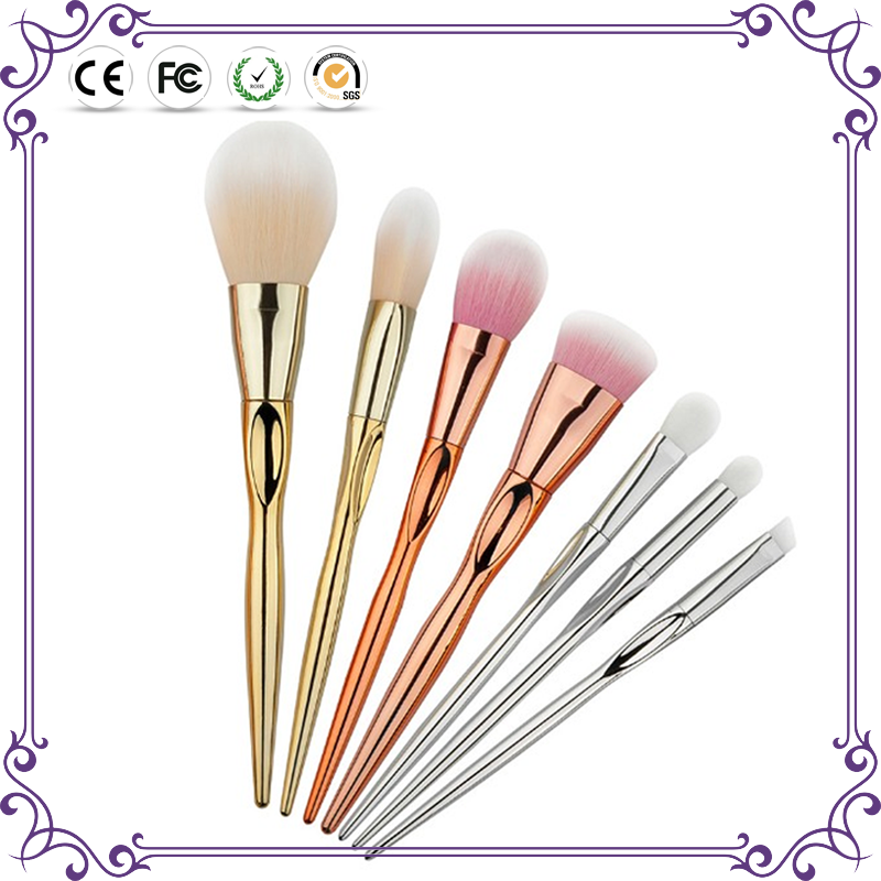 Popular 7pcs shiny synthetic hair cosmetic make up brushes set rose gold handle